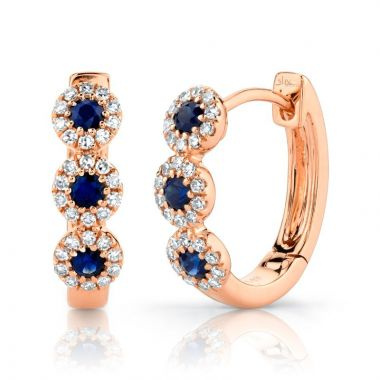 Shy Creation 14k Rose Gold Diamond and Gemstone Huggy Earrings