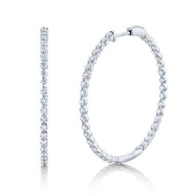 Shy Creation 14k White Gold Diamond Hoop Earrings