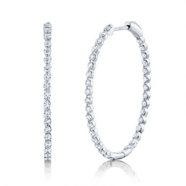 Shy Creation 14k White Gold Diamond Hoop Earrings