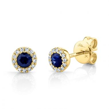 Shy Creation 14k Yellow Gold Diamond and Gemstone Stud Earrings