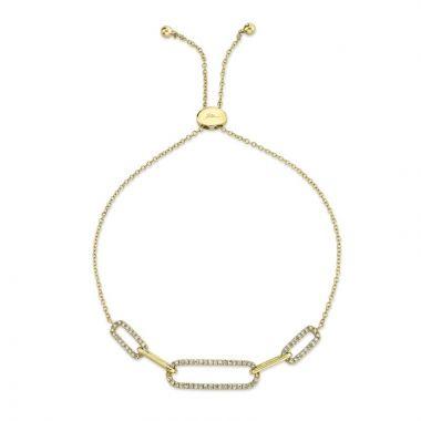 Shy Creation Yellow 14K Gold 0.24Ct Diamond Bolo Bracelet